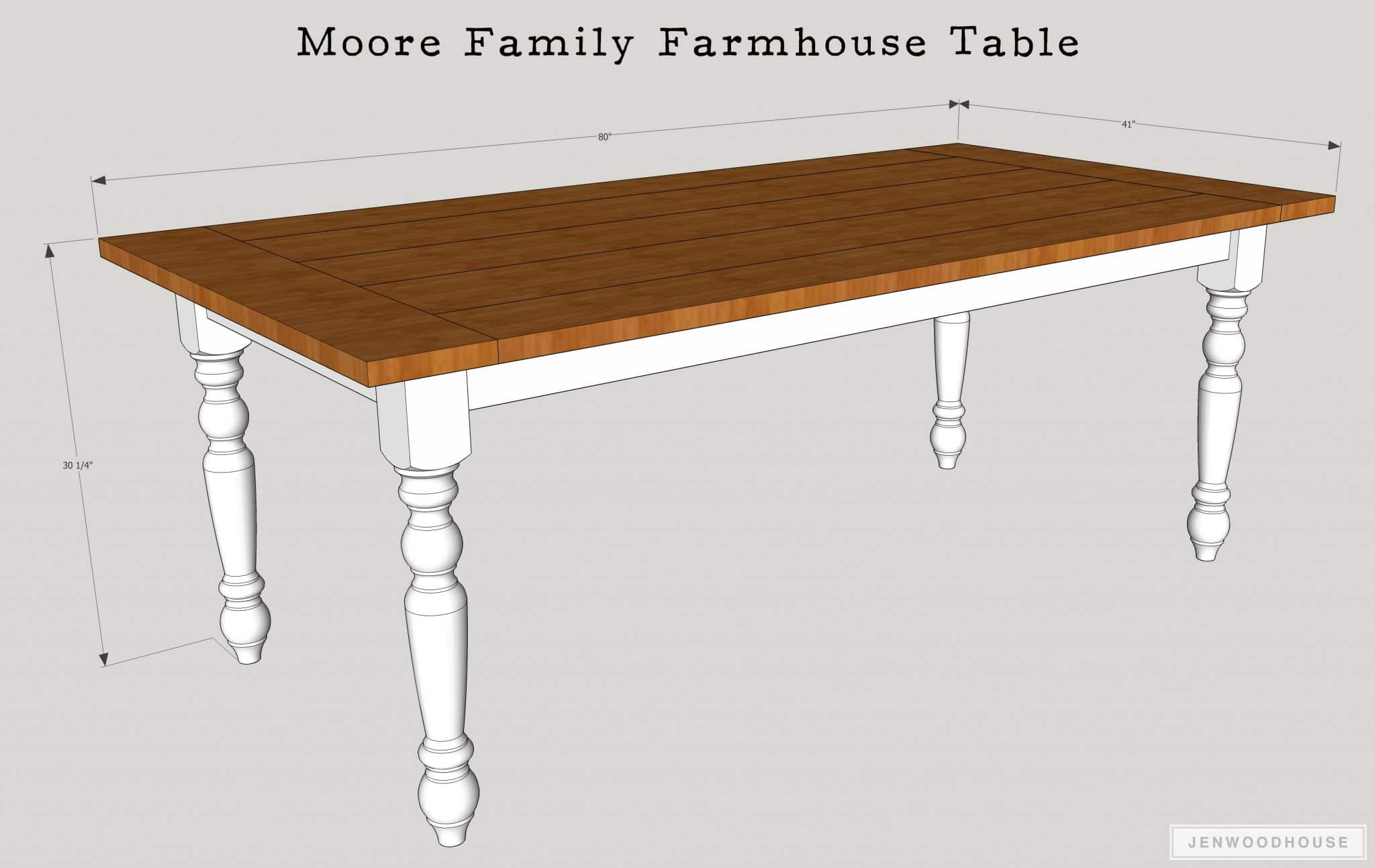 DIY Farmhouse Dining Table - free plans by Jen Woodhouse