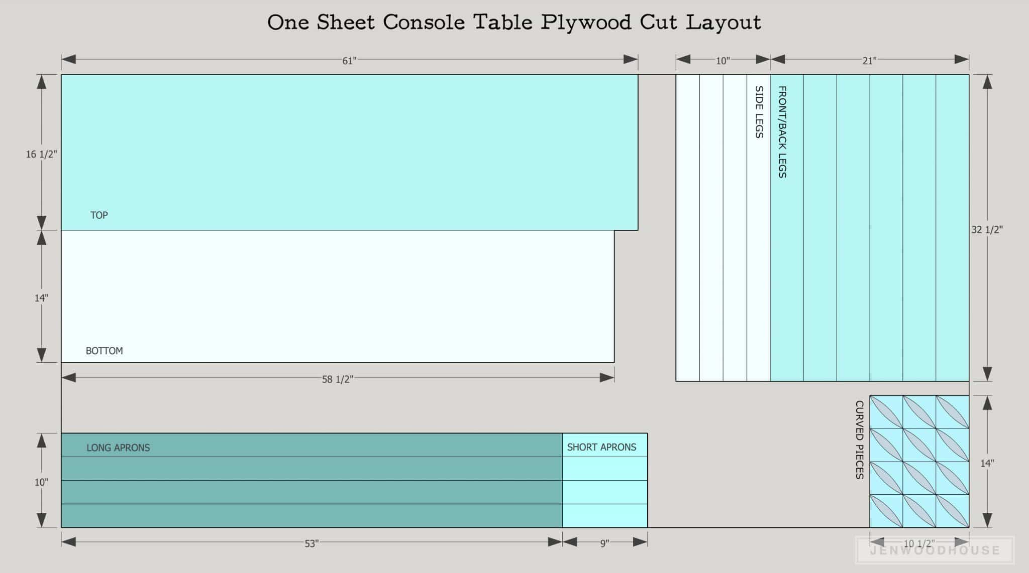 Diy one sheet plywood console table for Table sheet design