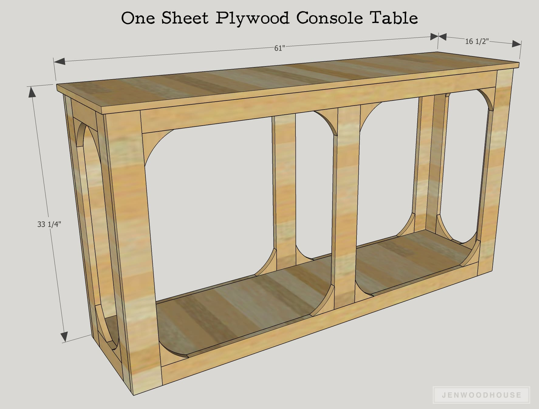 How to build a DIY console table out of one sheet of plywood. Free plans by Jen Woodhouse.