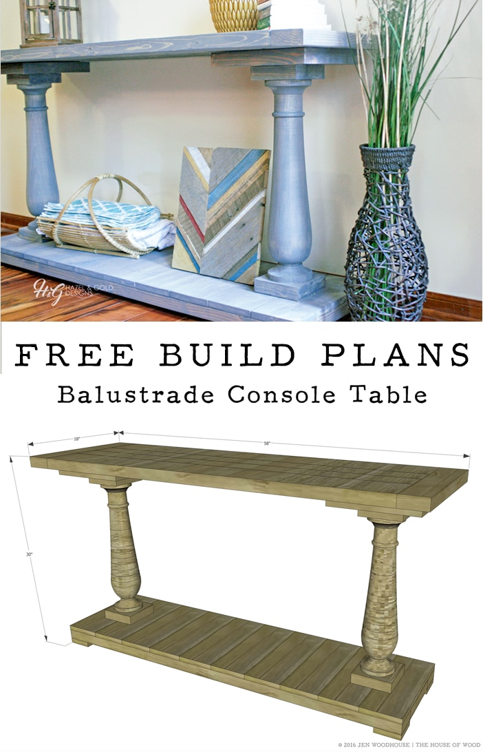 Love Restoration Hardware, but don't love the price? Build your own RH-inspired DIY balustrade console table! Free plans!