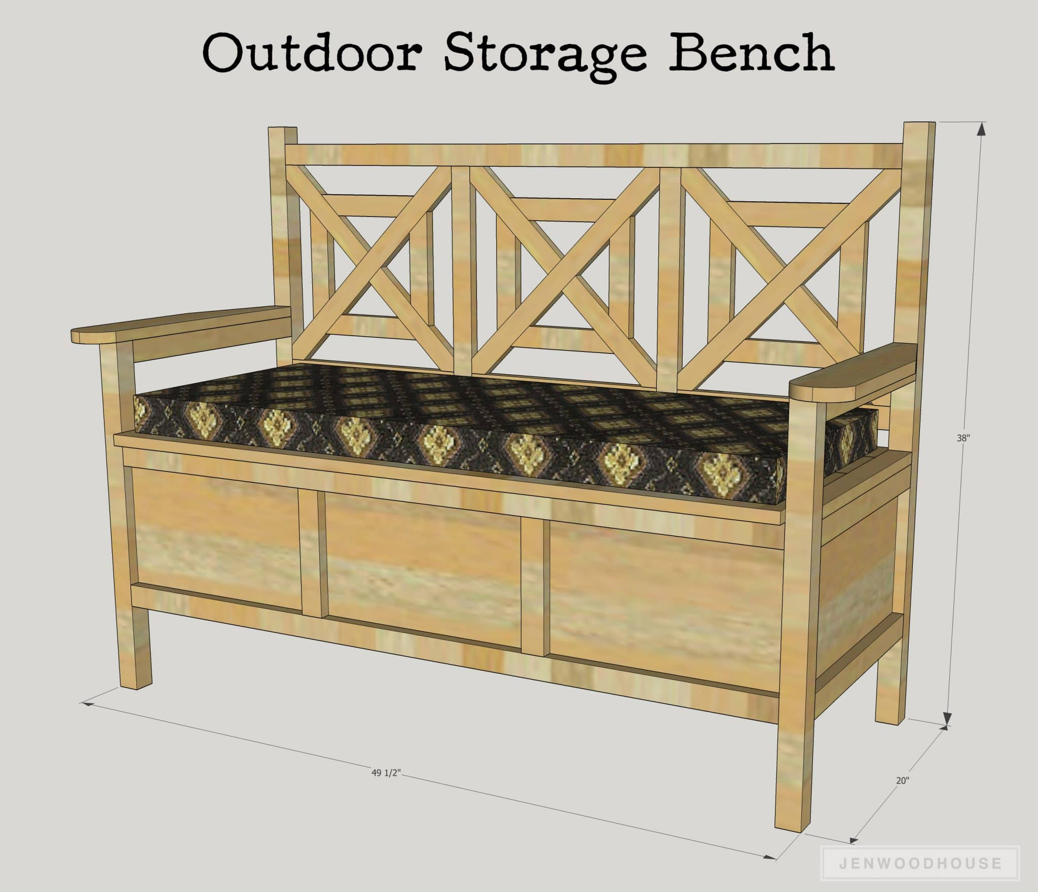 Storage Bench Ideas Part - 32: How To Build A DIY Outdoor Storage Bench With Free Plans By Jen Woodhouse