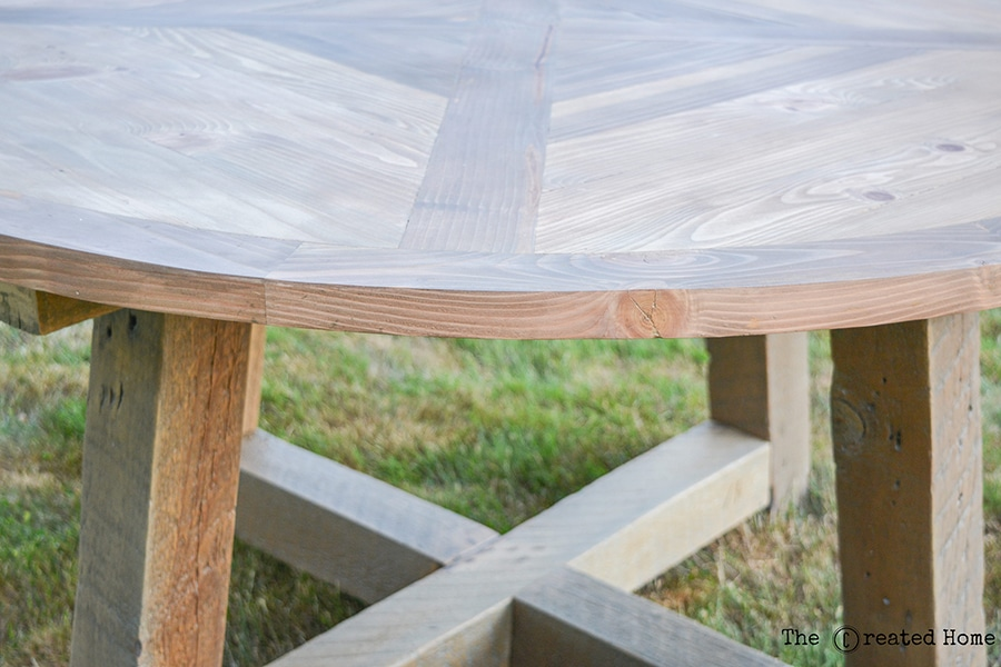 How To Build A Gorgeous DIY Round Dining Table From Reclaimed Wood Beams.  Plans By
