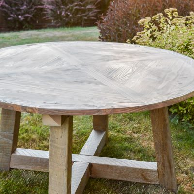 Wood Beam Round Dining Table