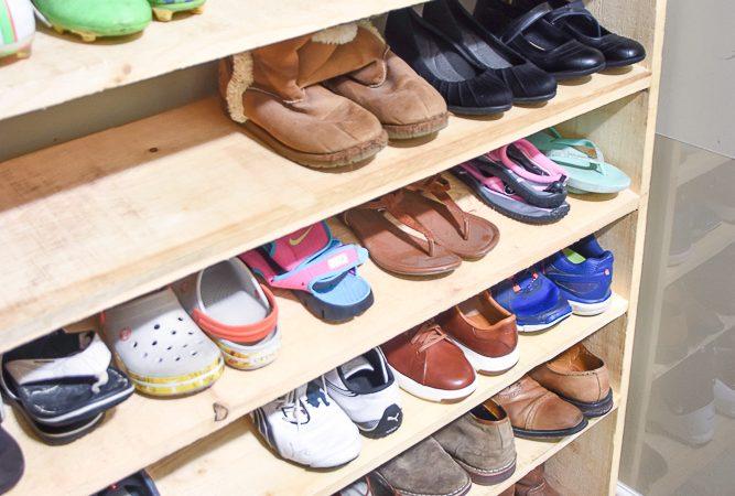 Large shoe rack, super-sized shoe rack, oversized shoe rack, DIY shoe rack, building plans for shoe rack
