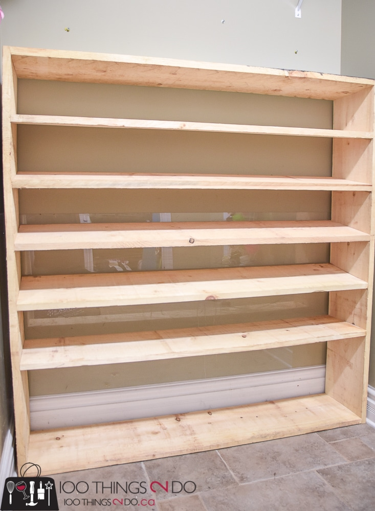 Large shoe rack, super-sized shoe rack, oversized shoe rack, DIY shoe rack, building plans for shoe rack