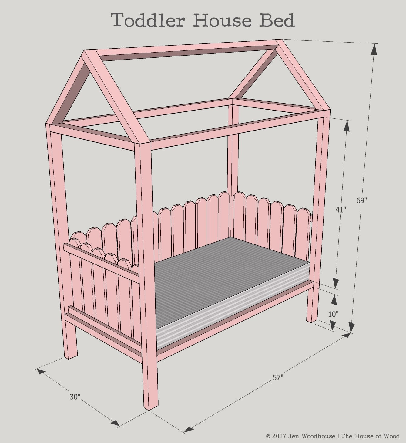 Diy toddler house bed for House bed frame plans