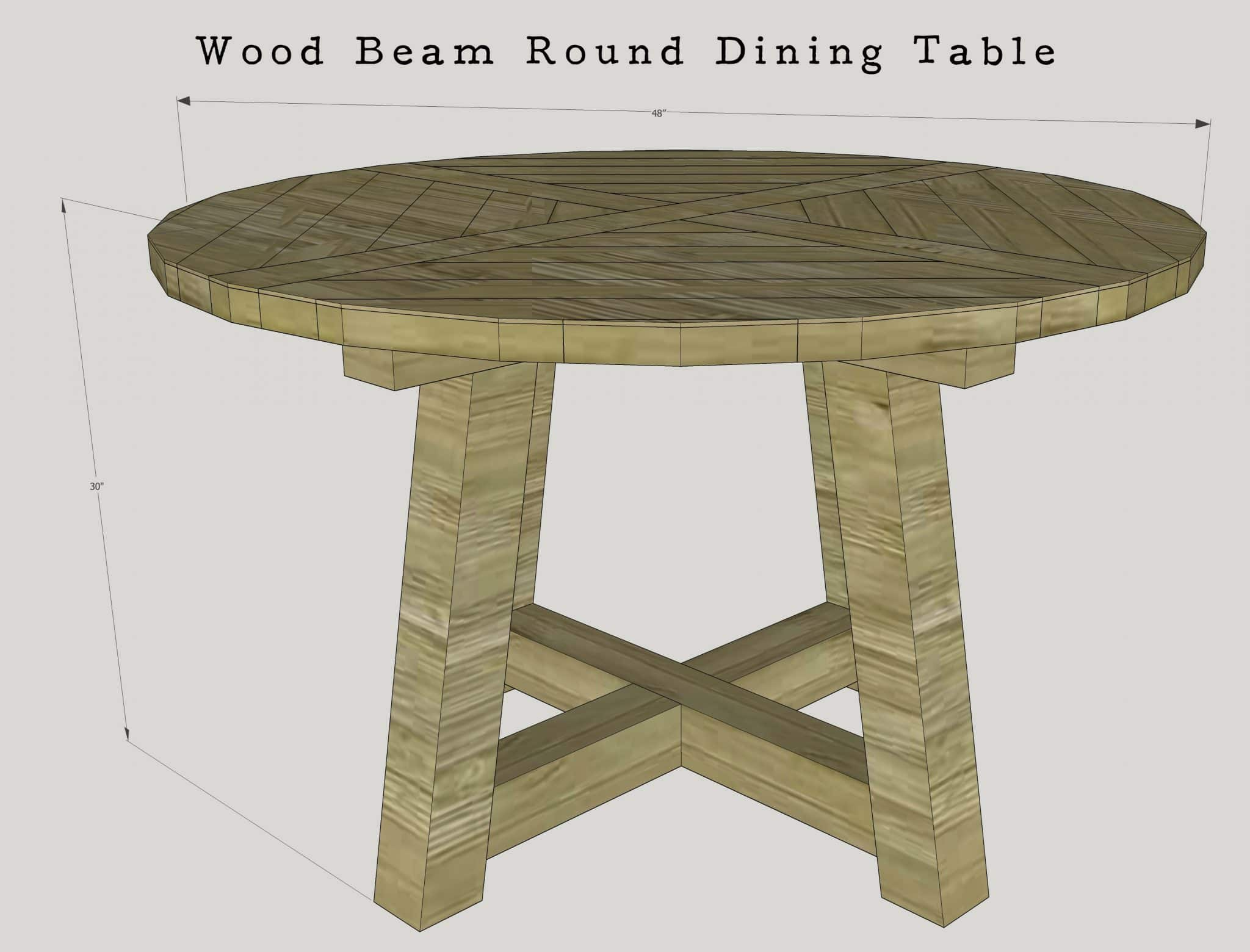 ... 60 Inch Wood Beam Round Dining Table