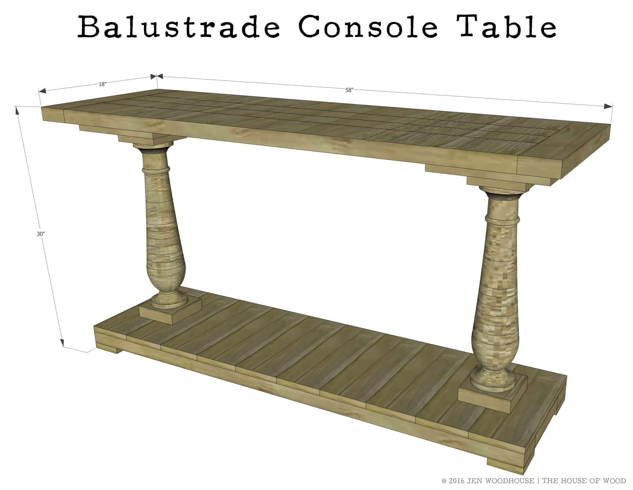 How To Build A DIY Restoration Hardware Inspired Balustrade Console Table    Free Plans!