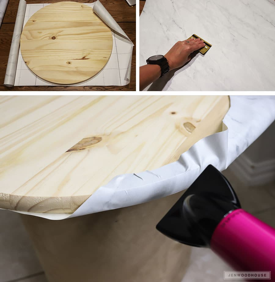 How to apply marble contact paper around a curved edge