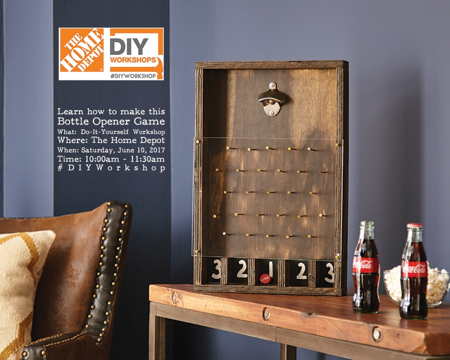 Home depot diy bottle opener game the home depot diy workshop fathers day bottle opener game solutioingenieria Choice Image