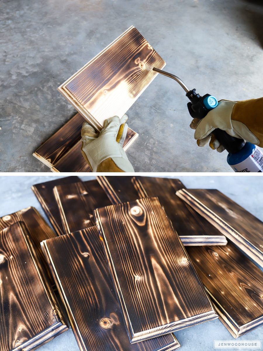 How to distress wood with a torch