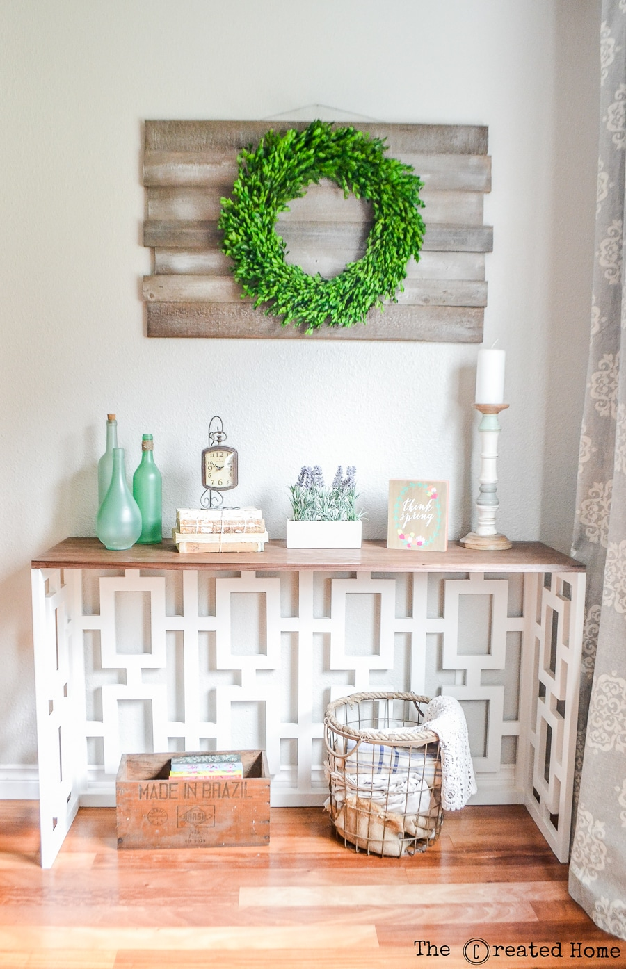 How to build a DIY console table with a stunning fretwork detail - plans by Jen Woodhouse