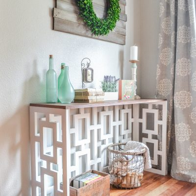 How to build a DIY console table with a stunning fretwork panel - plans by Jen Woodhouse