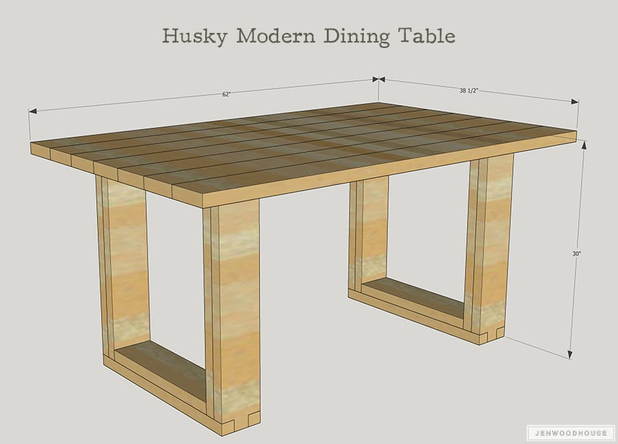 How To Build A DIY Chunky Modern Dining Table. Free Plans By Jen Woodhouse