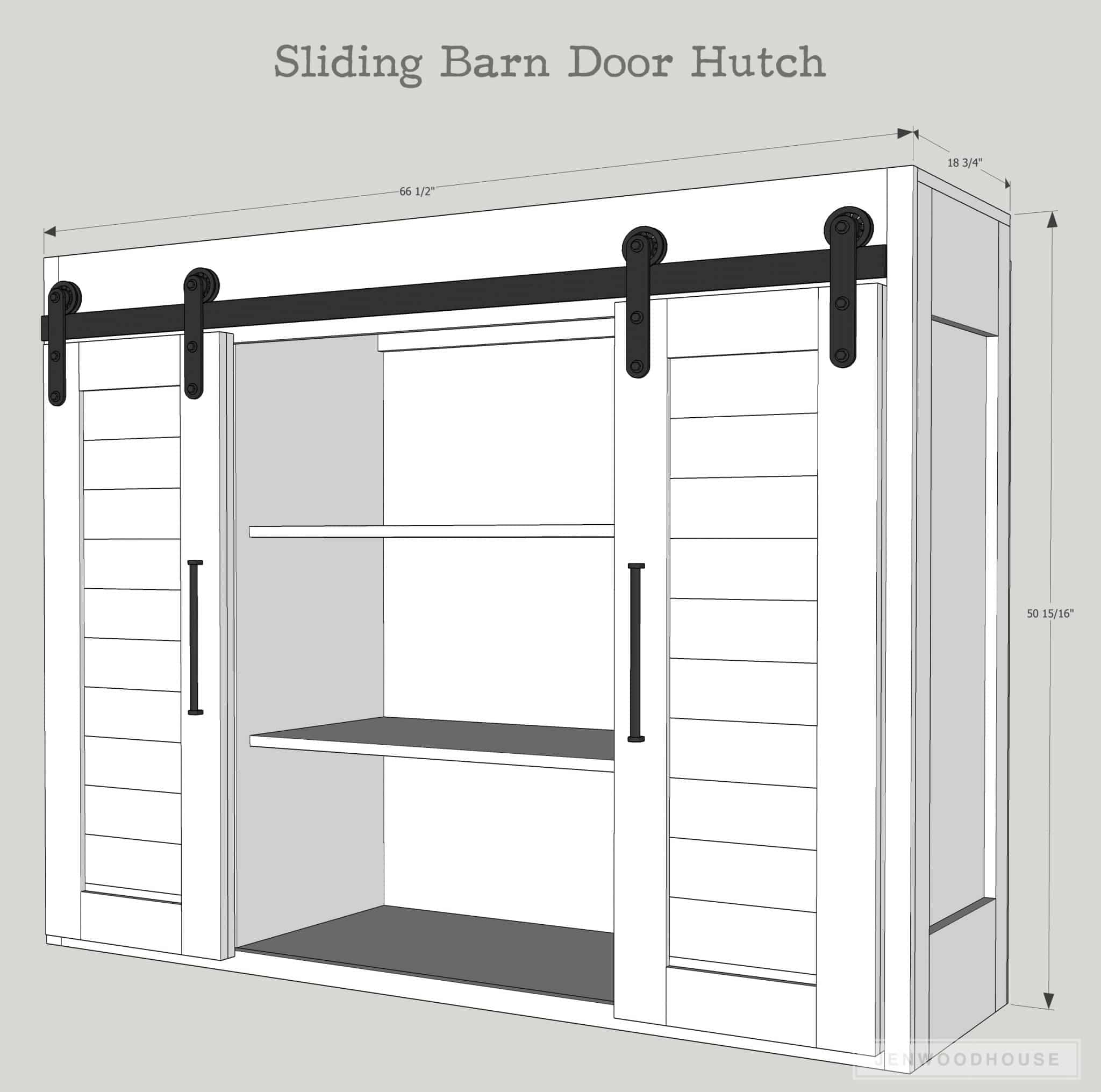 sliding barn door hutch plans