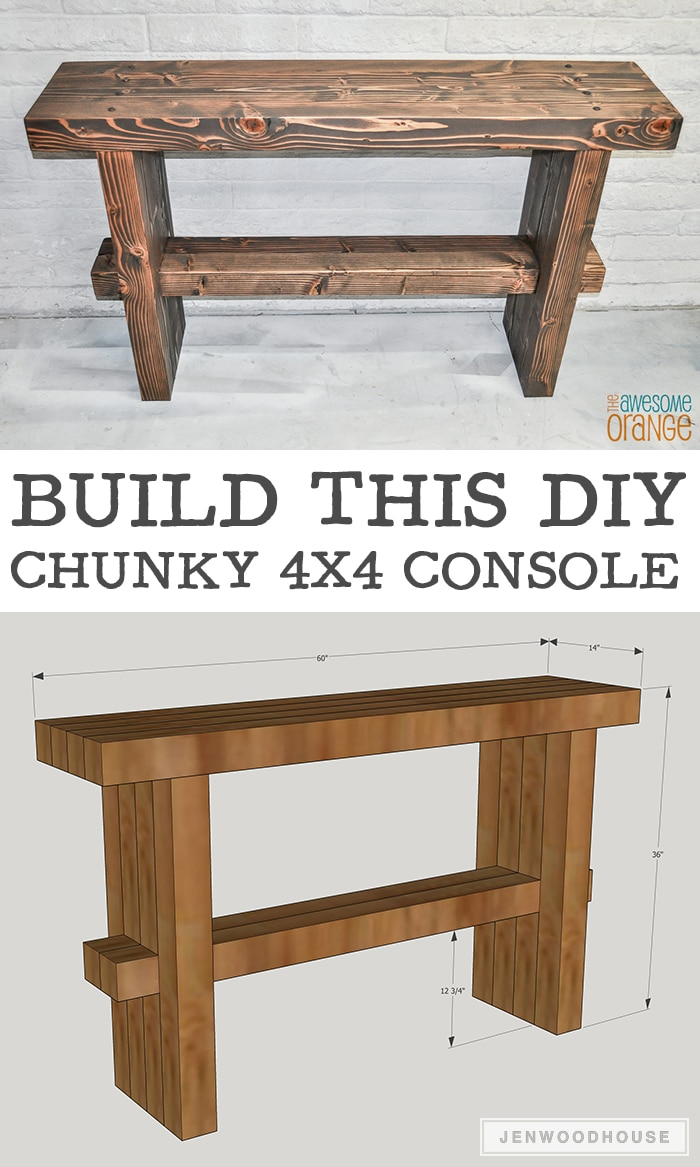How to build a DIY chunky console table using 4x4s - plans by Jen Woodhouse