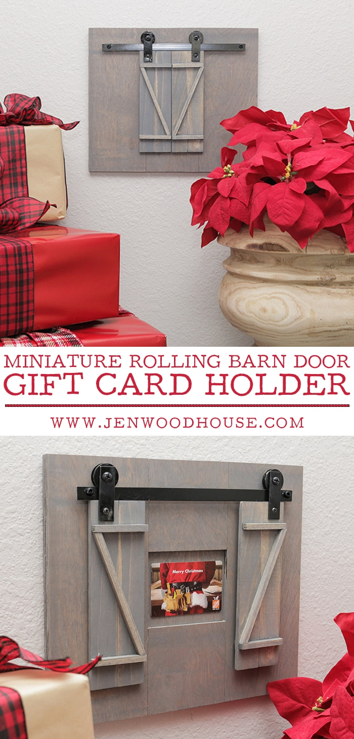 Present your holiday gift cards in style! Learn how to make a DIY miniature rolling barn door gift card holder!