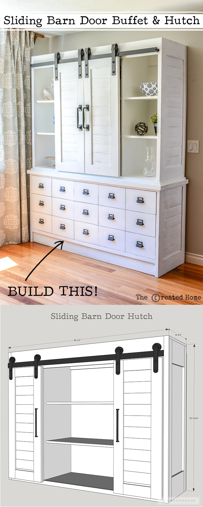 diy farmhouse sliding barn door hutch. Black Bedroom Furniture Sets. Home Design Ideas
