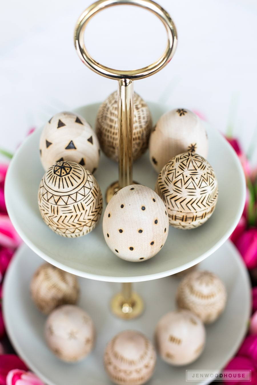 Wood burned Easter eggs