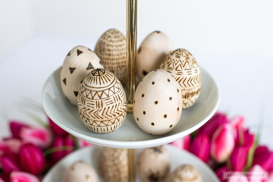 Use a micro torch to decorate wooden Easter eggs