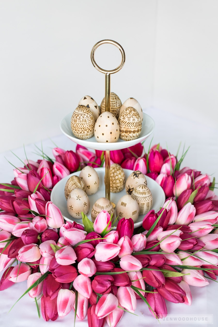 Easter egg tulip wreath centerpiece