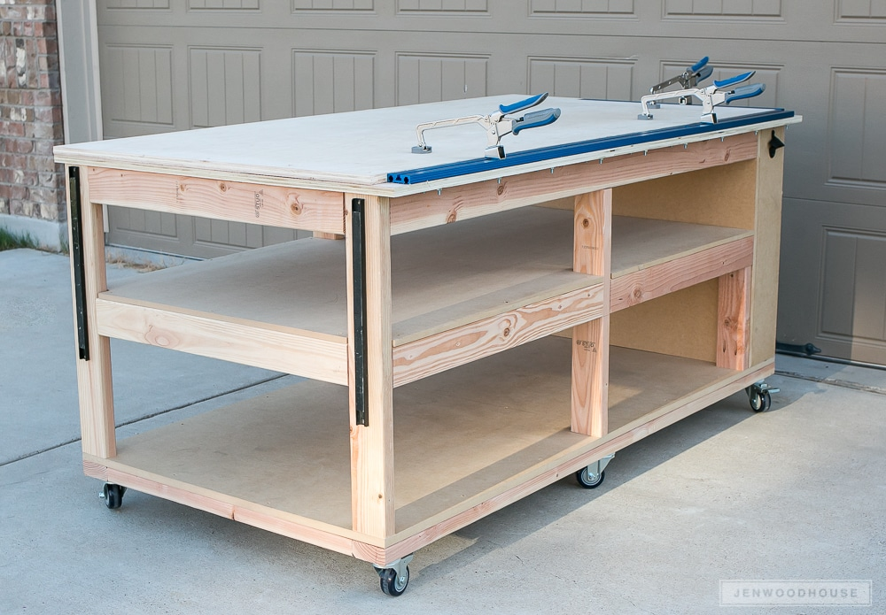 DIY Workbench with storage shelves