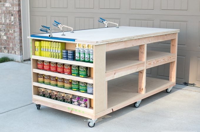 Learn how to build a DIY mobile workbench with shelves and storage for quarts of paint or stain. Add a clamp track to easy clamping capability.
