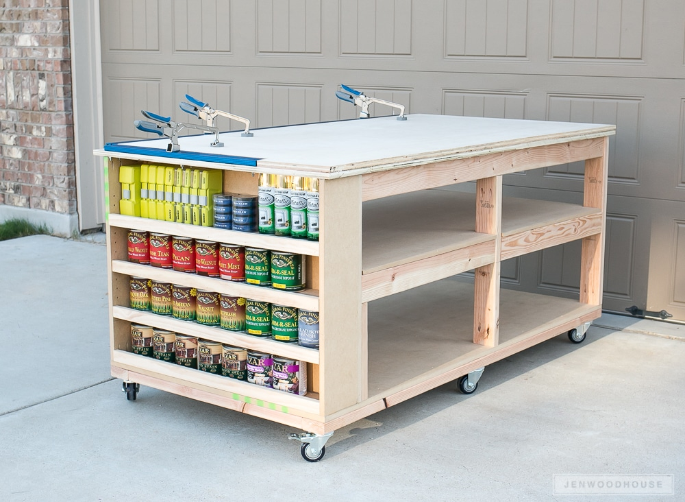 Awesome Learn How To Build A DIY Workbench With Storage Shelves And Casters