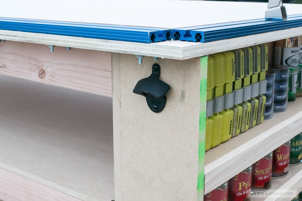 Workbench with shelves - free plans by Jen Woodhouse